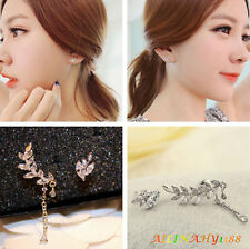 Fashion Women's Mini Leaf Ear Stud Ear Earrings Clip Chain Drop Dangle Earrings