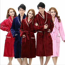 Mens &Womens Flannel Fleece Terry Towelling Shawl Collar Bath robe Dressing Gown