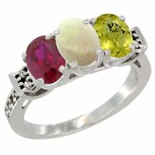 14k White Gold Enhanced Ruby, Natural Opal & Lemon Quartz 3-Stone Oval Cut Ring