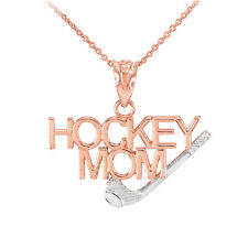 Two-Tone Rose Gold HOCKEY MOM Stick & Puck Sports Charm Pendant Necklace