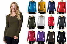 Crew Neck Plain Long Sleeve TOP Layering Cotton Stretch Cute T-SHIRTS Solid SML