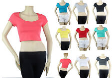 Scoop Neck Short Sleeve Sexy Yoga CROP TOP Cotton Stretch Casual Shirt Solid SML