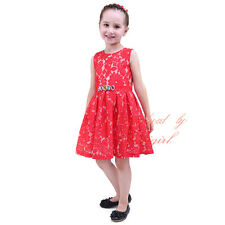 Red Bodice Flower Girls Dress Princess Wedding Bridesmaid Birthday Party Pageant