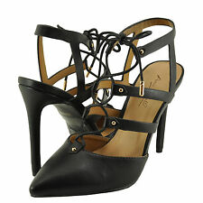 Women's Shoes Anne Michelle Riseup 27M Lace Up Pointed Toe Pumps Black *New*