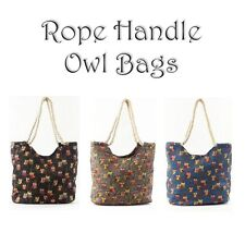 ROPE HANDLE OWL PRINT LINED CANVAS TOTE SHOPPER BEACH HOLIDAY SHOPPING BAG