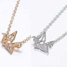 Fashion Lovely Origami Crane Cute Bird Pendant Necklaces Sweat Chain Party Gifts