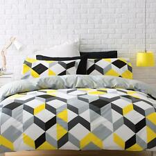 Contemporary Yellow & Grey Reversible  Quilt cover & Pillow case set - All Size