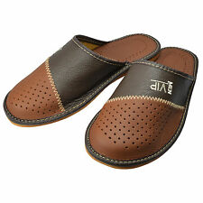 Mens Leather Slippers Mules Shoes, Hand Made, Brown Size 6 7 8 9 10 11 12