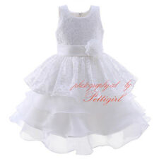 Kids Princess Bridesmaid Flowers Girl Dress Wedding Party Formal Layered Dresses