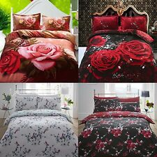 Rose Duvet Cover + Pillowcases 3D Photographic Floral Bedding Single Double King