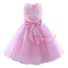 Summer Flower Bow Girl Dress Communion Party Easter Wedding Birthday Holiday NEW