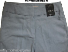New Womens Marks and Spencer Blue Linen Straight Leg Trousers Size 12 10 Medium