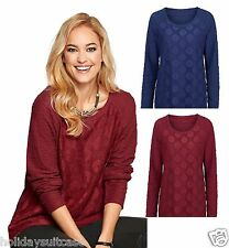 NEW LADIES WOMANS PRETTY DAISY LACE SWEATER TOP BLUE OR RED PLUS SIZE 8-36