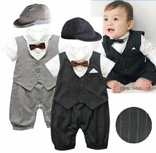 Baby Toddler Boy Wedding Formal Tuxedo Suit Outfits Cloth+HAT Set NEWBORN 0-18M