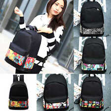 Women Men Unisex Travel Canvas Backpack Casual Black Bags School Bag Rucksack