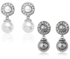 Pearl Drop Earrings Crystal Studded Swarovski Elements, Gold Plated, White Black