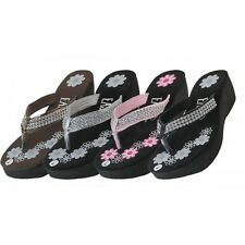 NEW Women's Flower Print Wedge With Rhinestone Flip Flops size 6 - 11