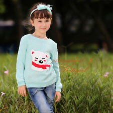 Girls Knitted Pullover Sweater Loose Casual Knitwear Sweatshirt With Lovely Bear