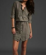 JAMES PERSE Gray Stone Summer Linen Drawstring Waist Shirt Dress $185 NWT 2 3 4