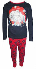 Children's Girls Navy & Red Flower Print Me To You Tatty Teddy Pyjamas 5-12 Yrs