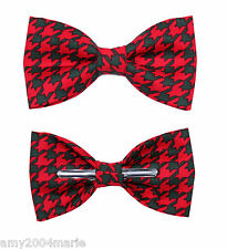 Red / Green Holiday Houndstooth Clip On Cotton Bow Tie ~ Men / Boys