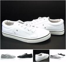 Men's Canvas Urban Skate Lace Up Sneakers Eyelet Walking Casual Athletic Shoes