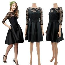 Womens Half Sleeve Lace Dress Pleated Mini Skirt Party Cocktails Suit Dress G63