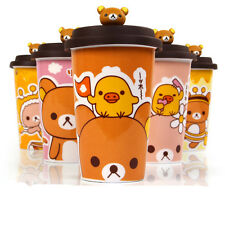 1PC New Bear Ceramic Cup Milk Cup Coffee Tea Mug with Straw and Lid 300ML Gifts