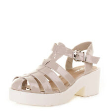 Womens Ladies Nude Patent White Gladiator Fisherman Sandals Shoes Size 3-8