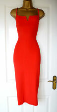 Red Plunge V Bandage Evening Bodycon Pencil Wiggle Party Midi Dress 14 16 18