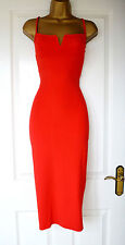 Red Plunge V Bandage Evening Bodycon Pencil Party Midi Dress 10 12 14 16 18