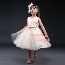 Flower Girl Bridesmaids Beige Bow Tulle Dress ALL SIZES Recital Birthday Pageant