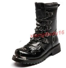Men's Englon Motorcycle Punk Real Leather Military Outdoor Work Ankle Boots