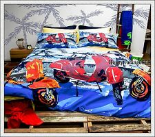SCOOTER Blue Beach Red Orange * KING QUEEN DOUBLE SINGLE QUILT DOONA COVER SET