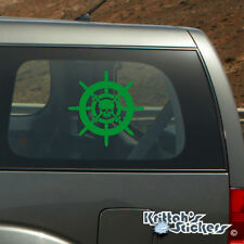 Captain's Pirate Ship Steering Wheel Vinyl Decal - fits car windows sticker K008