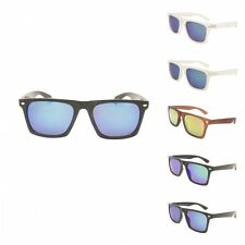 Unique Mens Flat Top Frame Wayfarer Style Sunglasses 80's Flash Mirror Lens