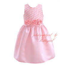 Pink Flower Sash Summer Girls Dresses Princess Birthday Wedding Pageant Sundress