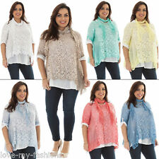 New Ladies Italian Lagenlook Floral 3 Pcs Lace Tunic Top Plus Size  12 14 16 18