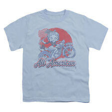 Betty Boop Men's  All American Biker Youth T-shirt Blue Rockabilia