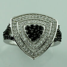 Black Spinel,White Topaz 925 Sterling Silver Right Hand 1.81 ctw Ring GSR1259