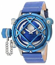New Men's Invicta 14815 Russian Diver Swiss Mechanical Blue Dial Leather Watch