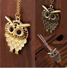 Women Vintage Cute Bronze Owl Pendant Long  Chain Necklace Jewelry Gift New