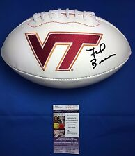 Frank Beamer Signed Virginia Tech Hokies Logo Football JSA