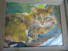 Original Cat Watercolor Painting framed signed F. Banks unique animal art