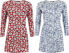 New Womens Plus Size Floral Print Long Sleeve Flared Ladies Swing Dress 14-32