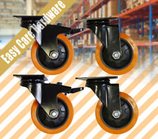 "4 X 3"" 4"" 5"" HEAVY DUTY PU castors swivel Brakes Castor Non Marking 130KG Orange"