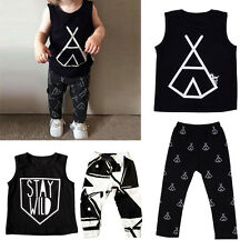 Toddler Tank Tops Pants Outfits Sleeveless T Shirt Infant Baby Kids Trousers LS