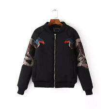 Animal Phoenix Embroidery Women Punk Jacket Pilots Bomber Loose Short Coat Top