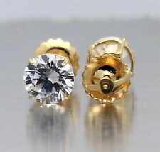 Made in USA 14K Gold & Round CZ 0.5ct to 8ct tw Screwback Stud Earrings