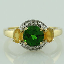 Solid Gold Chrome Diopside,Opal,Diamond Three Stone Ring GSR1089